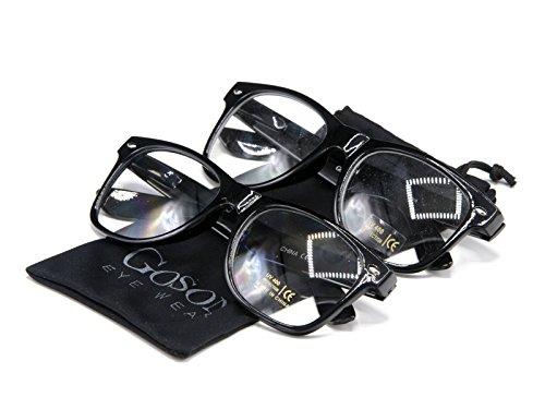 Goson Vintage Hipster Nerd Black Frame/Clear Lens Wayfarer 57 mm Glasses (Pack of - Hipster Nerd Glasses