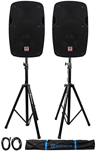 2) Rockville SPG84 8 Passive 800W DJ PA Speakers 4 Ohm 2) Stands+2) Cables+Case
