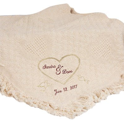 """GiftsForYouNow Wedding Heart Embroidered Afghan, 100% Cotton, 36"""" x 48"""""""