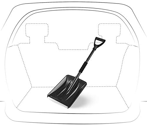 IPSXP Snow Shovel, Detachable Plastic Emergency Snow Shovel with Stainless Steel Pole D-Grip and Aluminum Edged Wide Blade Shovel, Perfect for Car Driveway, Camping and Outdoor Emergency (31.5in/80cm)