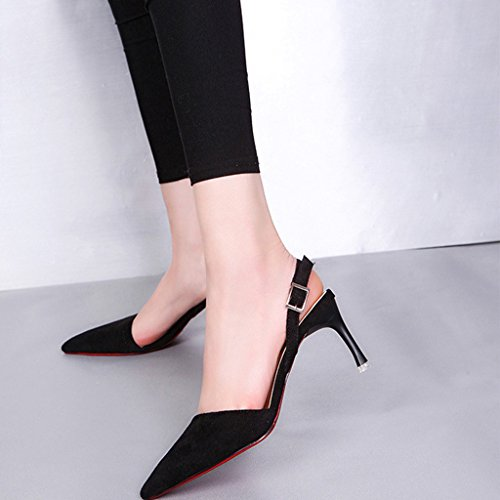 Top-Sell Sexy Lady Señora Delgado Zapatos Mujer Faux Leather Stiletto Mid-Talón Pointy Shoes Negro
