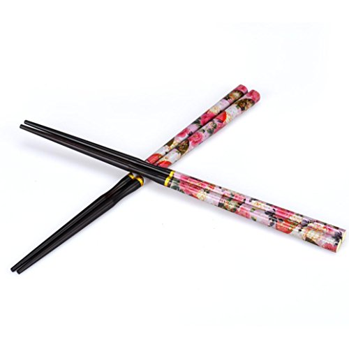 [Elevin(TM)2 Pairs New Japanese Traditional Crafted Antique Natural Handmade Wood High Class Lacquer Tableware Couple of Chopsticks Gift] (Soy Sauce Costume Women)
