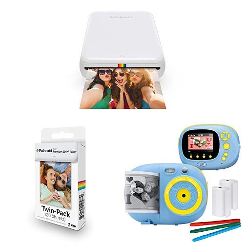 Polaroid Zip Mobile Photo Mini Printer (White), with Extra Paper and Kids Instant Print Camera & Video Camcorder Bundle with Frames, Filters for Hours of Fun - Blue