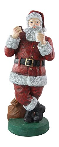 LME Christmas Santa Claus 11 Statue Enjoying Milk and Cookies Standing by Sack of Presents Hand Painted Resin