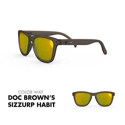 goodr RUNNING SUNGLASSES - No Slip, No Bounce, UV Polarized (Doc Brown's Sizzurp Habit, - Doc Glasses Brown