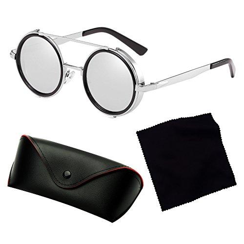 bd43fde500d4ae ... Mode Lunettes de soleil rondes lunettes de soleil Steampunk hibote Femmes  Hommes Lunettes de vue Retro ...