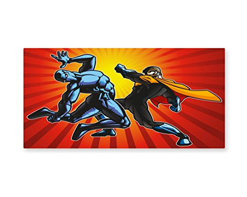 Lunarable Superhero Wall Art, Hero and Ninja in Fight Combat Fighters Villain Punching Fist Fantastic Design, Gloss Aluminium Modern Metal Artwork for Wall Decor, 23.5 W X 11.6 L Inches, (Pictures Of Female Superheroes And Villains)