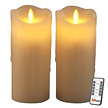 Homemory 7 Inch Battery Operated Flickering Candle Light with Remote, Pack of 2 Ivory Wax Flameless Fake Candle Auto On and Off with 2/4/6/8Hours Timer Function for Church, Spa, Table, Wall Sconce