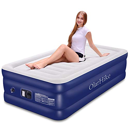 OlarHike Inflatable Airbed Queen/Twin Size, Raised Elevated Blow up Air Mattress for Guests, Soft Flocked Top & Premium Sleeping Support