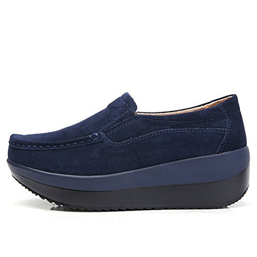 Gracosy Women's Platform Suede Shoe,Slip On Loafers Casual Rocker Sole Large Size Mid Heels Wide Low Top Wedge Comfort Shoes by Gracosy (Image #3)