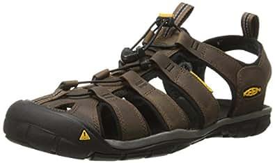 KEEN Australia Men's Clearwater CNX Leather Trekking Sandal, Dark Earth/Black, 7 US