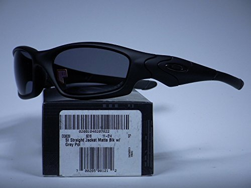 Oakley Men's Straight Jacket Polarized Rectangular Sunglasses, Matte Black, 60.0 ()