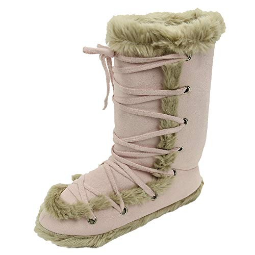Home Slipper Women's Fashion Lace up Relax Indoor House Footwear Boots Slipper Booties,Pink US ()