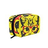 Yellow Cat Red Glasses Makeup Bag Organizer Portable Cosmetic Pouch Handbag With Zipper For Women Purse