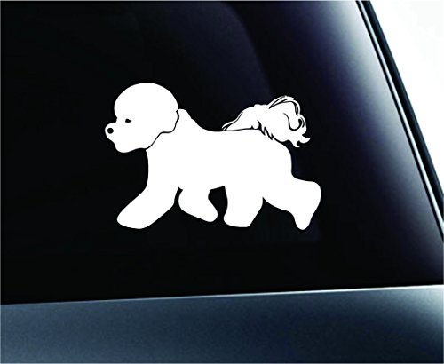 Dog Bichon Frise Symbol Decal Car Truck Sticker Window Dog Breed Pet Family Paw Print Love (White), Decal Sticker Vinyl Car Home Truck Window Laptop