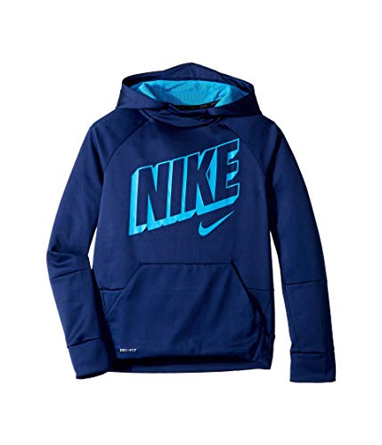 - Nike Boy's Therma Graphic Training Pullover Hoodie Blue Void/Blue Hero Size Medium