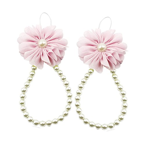 Voberry® Baby Infant Toddler Girl's Pearl Chiffon Flower Barefoots Beach Sandals Foot Flower Foot bracelet Jewelry (Pink)