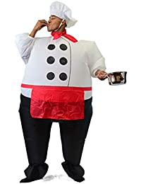Inflatable Costume Air Blow-up Deluxe Halloween Chief Cook Costume - Adult Size (5'3'' to 6'3'')