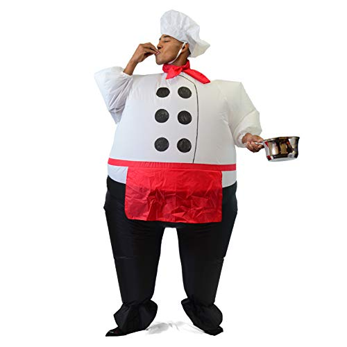 Spooktacular Creations Inflatable Costume Air Blow-up Deluxe Halloween Chief Cook Costume - Adult Size (53 to 63) White