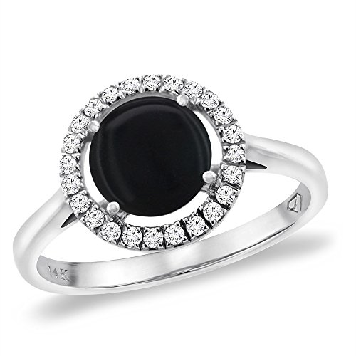 (14K White Gold Natural Black Onyx Halo Engagement Ring Round 8 mm, size)