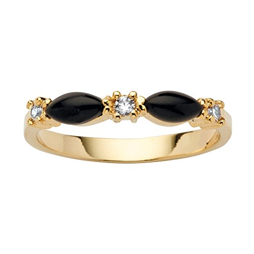 14K Yellow Gold Plated Marquise Shape Natural Black Onyx and Round Crystal Ring