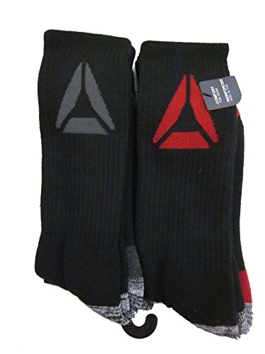 Mens Reebok 5 Pack Athletic Crew Socks (Large (Shoe Size 6-12.5), Black (Red/Grey Delta Logo))