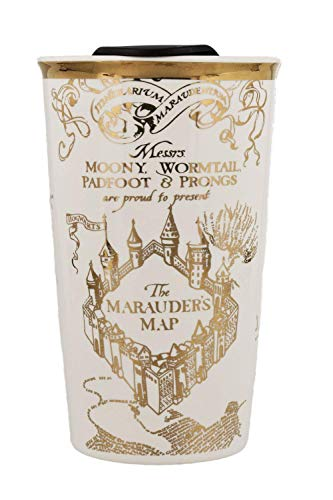 Harry Potter Hogwarts Travel Coffee and Tea Mug - Ceramic White with Marauder's Map Design, Gold Plated Finish - Premium Drinkware for Hot/Cold Drinks - A Magical Novelty Gift for Potterheads ()