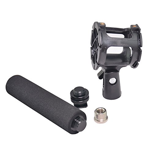 Bestshoot Microphone Shock Mount Holder Clip + Hot Shoe Adapter + 5/8