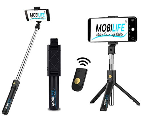 Mobilife K07 Bluetooth Selfie Stick,mobile stand, Extendable Selfie Stick with Wireless Remote and Tripod Stand Selfie Stick for all smart Phone , iPhone X/iPhone 8/8 Plus/iPhone 7/iPhone 7 Plus/Galaxy Note 8/Google and More (Black)