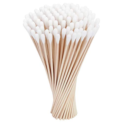 Tifanso 300 Count 6 Inches Cotton Swabs with Long Wooden Sticks Cotton Tipped Wood Applicators for Cleaning (3 Packs of 100)