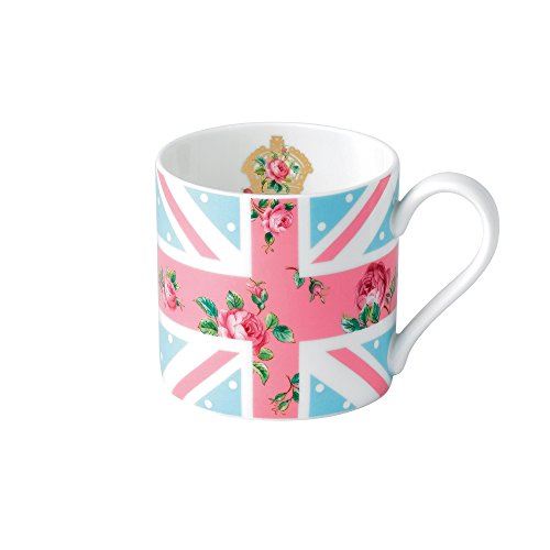 Royal Albert CHEPNK26580 New Country Roses Union Jack Modern Mug, White (Pink Union Jack)