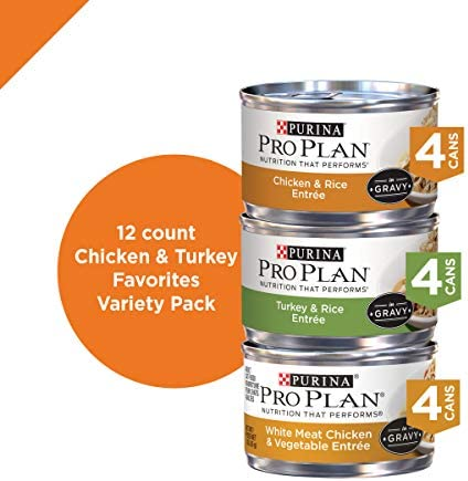 PURINA Pro Plan Gravy Wet Cat Food Variety Pack, Chicken & Turkey Favorites - (2 Packs of 12) 3 oz. Cans 3