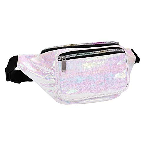 Futosix Fashion Holographic Fanny Pack for Women Men-Waterproof Travel Waist Packs Bum Purse Bags for Rave, Festival,Hiking (Light White) -