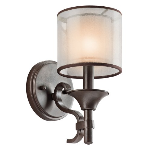 Kichler 45281MIZ Lacey Wall Sconce 1-Light, Mission Bronze (Sconce Double Transitional Wall)