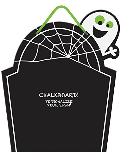 Chalkboard Tombstone Sign - Cutout Wood with Ribbon for Hanging, 15 X 12-1/2 -