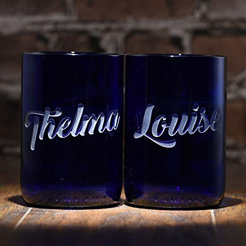 Thelma & Louise Engraved Tumbler Set, Recycled Wine Bottle ()