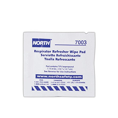 Honeywell 7003-H5 North N7003 Respirator Refresher Wipe Pads, White (Pack of 100) ()