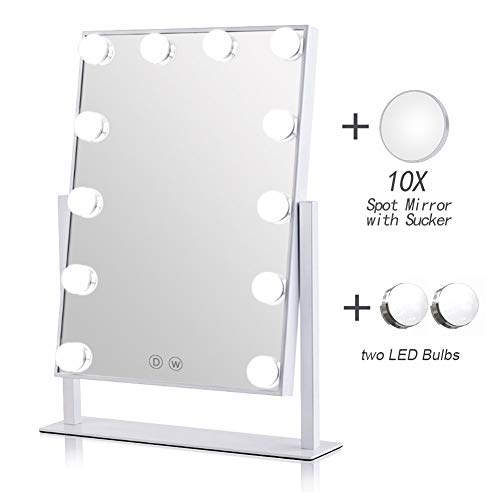 Lighted Hollywood Style Makeup Cosmetic Mirrors Vanity Mirror with 12 x 3W Dimmable LED Bulbs and Touch Control Design White ()