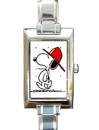 Fireman Snoopy Rectangular Italian Charm Watch with Stainless Steel 16 Link Wrist Strap Peanuts Charlie Brown Band 9mm Italian Charm Watch
