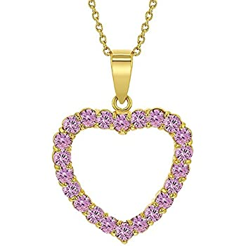 39b6a87b99 In Season Jewelry 14k Gold Plated Heart Love Pink Crystal Pendant Necklace  19