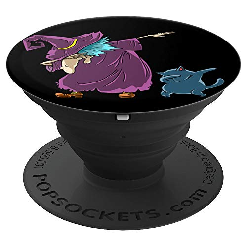 Funny Halloween Costume for Kids Dabbing Witch Cat Black - PopSockets Grip and Stand for Phones and Tablets