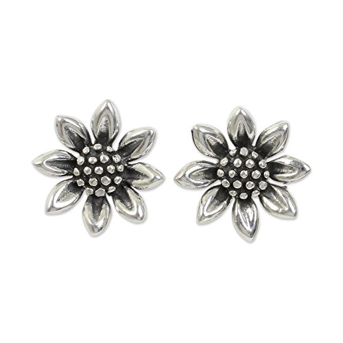 novica-925-sterling-silver-flower-stud-earrings-sunflower-love