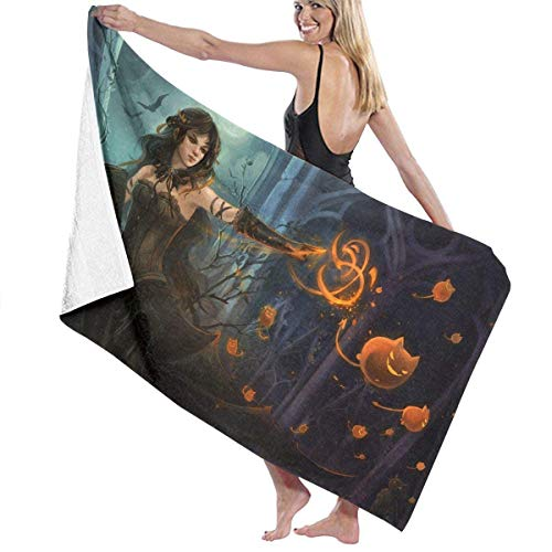 Oversized Beach Towel, Bath Towel,Microfiber Beach Towel Halloween Witch Pumpkin Cat Multi-Colored Beach Blanket Quick Dry Towel for Travel Swim Pool Yoga Camping Gym Sport -31.5