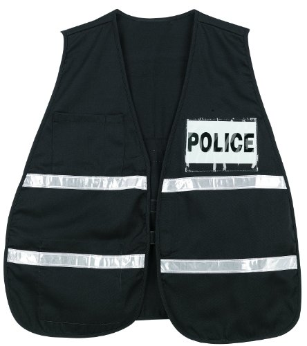 MCR Safety ICV207 Incident Command Polyester/Cotton Safety Vest with 1-Inch White Reflective Stripe, Black