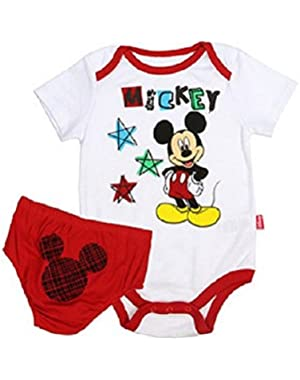 Disney Baby Boy's Mickey Mouse Bodysuit Diaper Cover Set, Stars