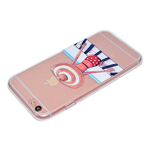 Coque iPhone 8,Tapis fille Premium Gel TPU Souple Silicone Transparent Clair Bumper Protection Housse Arrière Étui Pour Apple iPhone 8 + Deux cadeau
