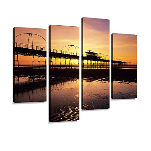 Southport pier at Sunset Canvas Wall Art Hanging Paintings Modern Artwork Abstract Picture Prints Home Decoration Gift Unique Designed Framed 4 Panel ()