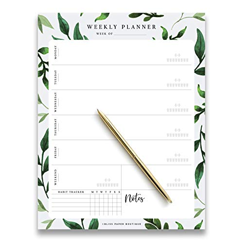 Weekly Planner Pad Tear Off Greenery Design, 50 Undated Pages, To Do List, Desk Notepad, Week Day and Weekend Organizer and Scheduler, Habit Tracker, Vertical Orientation from Bliss Collections