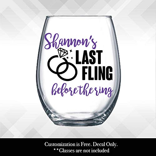 Gustave Last Fling Before The Ring Decal Bachelorette Weekend Party Wine Glass or Plastic Tumbler Decal ONLY