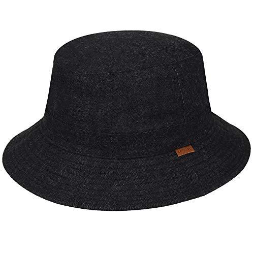 (Kangol Men's Quilted Denim Hunter Bucket HAT, Black, XL)